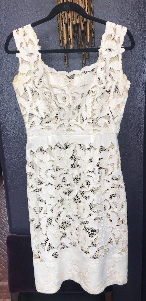 A Vintage 1950/60's Lace White  Linen Dress