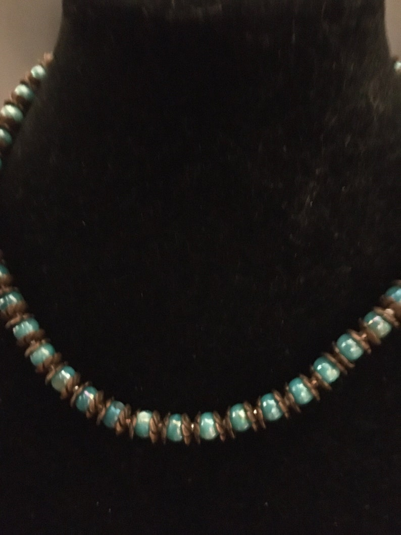 Copper Blue clam shell necklace