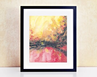 Abstract Sunset Watercolor Painting Modern Wall Art For Master Bedroom Colorful Dining Room Print Boho Gallery Decor