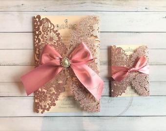 3243339ef Rosegold Floral Laser Cut Invitation, Lace Laser cut, Quinceanera  Invitation, Crown invitation, Glitter invitation, Sweet sixteen