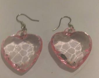 Pink Clear Heart Earrings