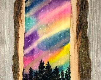 Galaxy Wood Slice Painting