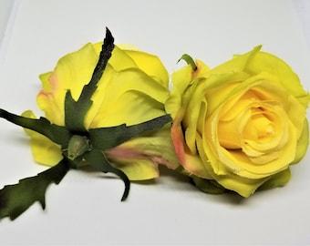 Yellow silk flowers etsy 1 piece medium artificial yellow rose flower artificial rose yellow rose head yellow silk rose flower mightylinksfo