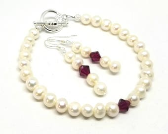 Birthstone Cultured Freshwater Pearl and Swarovski Crystals Bracelet and Earrings Set in Silver | Birth Month Earrings and Bracelet