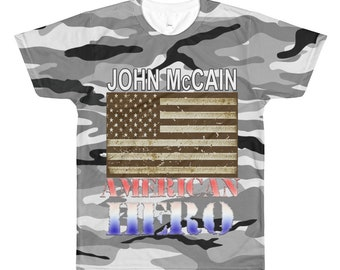 John McCain Shirt, Senator McCain American Hero Camo All-Over Printed T-Shirt, Sen McCain Camouflage Flag Shirt, Men's Patriotic Shirt,