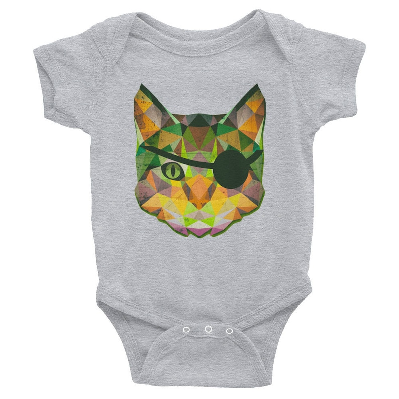 Tabby Cat Low Poly Evil Eye Patch Wearing Cat Baby Infant Bodysuit One Piece Clothes