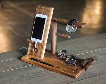 Charging Station Personalized Men Gift Anniversary Gifts For Watch Docking Wooden Apple