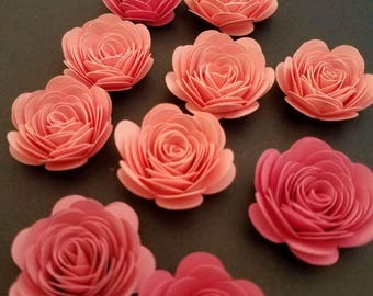 Small paper flowers etsy set of 10 shades of pink small paper flowers quilled flowers origami paper flowers mightylinksfo