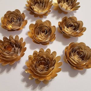 Small paper flowers etsy set of 10 gold rolled paper flowers quilled flowers small paper flowers table decor gold flowersbridal shower decor mightylinksfo