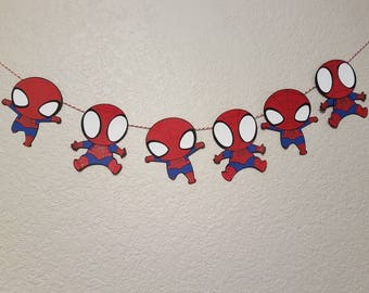 Baby Spidey Garland, Spiderman Garland, Marvel Heroes, Spiderman Decor, High Chair Garland, Wall Garland