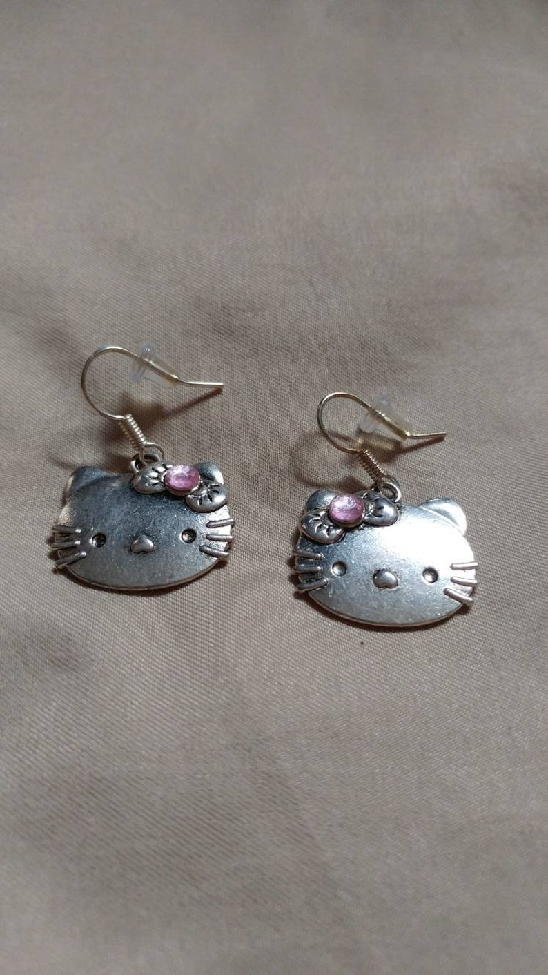 990a0eb17 Hello Kitty Earrings with Pink Rhinestone Silver and Pink | Etsy