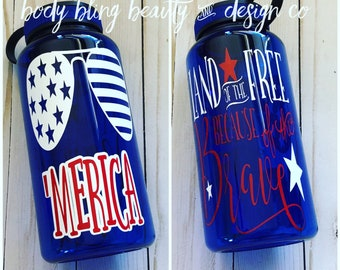 Water Bottle, Custom Water Bottle, Hydration, Water Reminder, 34oz Water Bottle, Gifts for her, USA, Red White & Blue, Patriotic, America