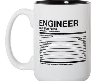 Engineer Nutritional Facts Ingredients Label Mug - Engineer Gift Mug - 15oz Deluxe Double-Sided Coffee Tea Mug