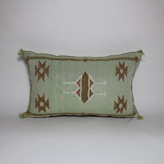 Pillow Covers 20x20 Cactus Silk Blue Pillow Handmade pillow Traditional pillow decorative pillow Blue pillow cases berber pillow