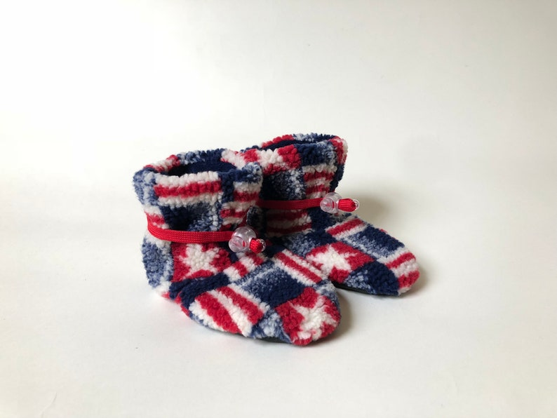 6b54e164d5861 Patriotic Toggle Toes, Toddler Size (12-24 months), warm fleece baby  booties, non-slip soft-sole kids' shoes