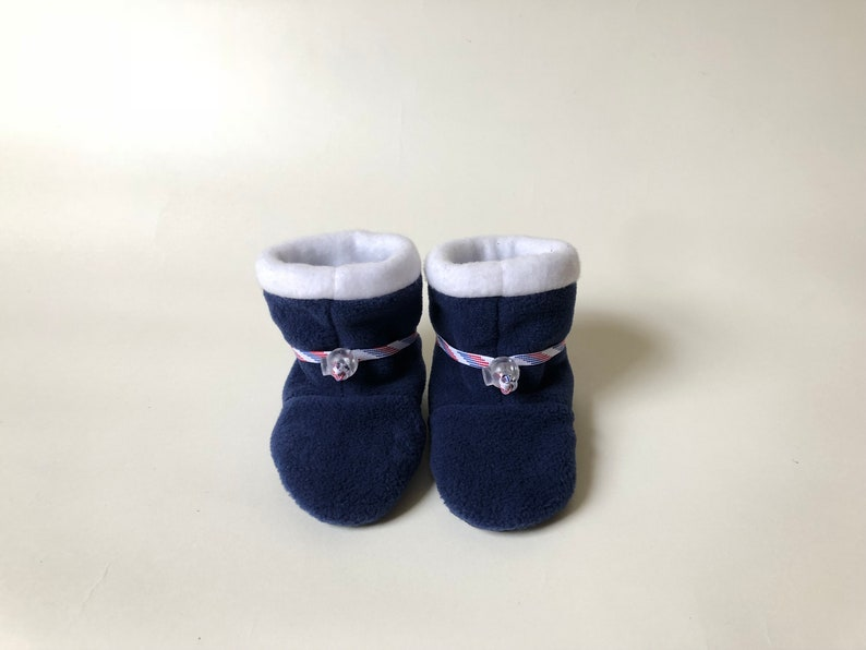 4a18fe80a4665 Blue and White Toggle Toes, Toddler Size (12-24 months), warm fleece baby  booties, non-slip soft-sole kids' shoes