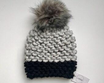2598f1f8a61 Chunky Knit Hat with Fur Pom
