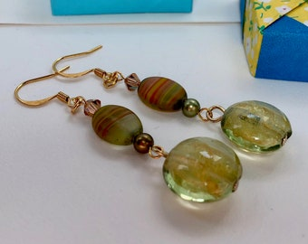 Golden Sunset Drop Earrings, gold plated ear wires