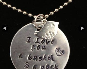 Bushel & a Peck stamped necklace