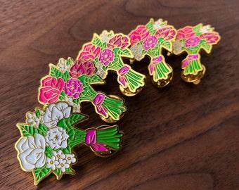 45f21b8543c Bridal Bouquet Bachelorette Enamel Pin Set