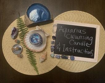 Aquarius Crystal Cleansing Candle & Instructions with Psychic Lady Yoly (Aquarius Birthday Season or Aquarius Full Moon Ritual)