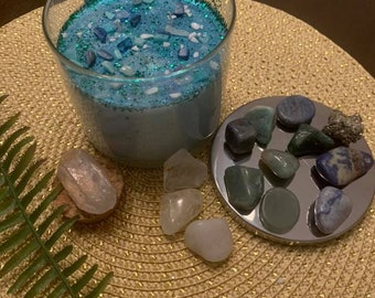 Justice Candle & Ritual Instructions with Psychic Lady Yoly Personalized and Enhanced with Turquiose Crystal