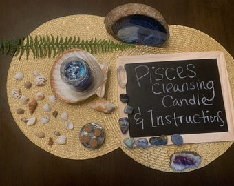 Pisces Crystal Cleansing Candle & Instructions with Psychic Lady Yoly (Pisces Birthday Season or Pisces Full Moon Ritual)