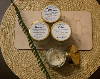 Zodiac Ritual Candles Enhanced with Crystals & Instructions by Psychic Lady Yoly