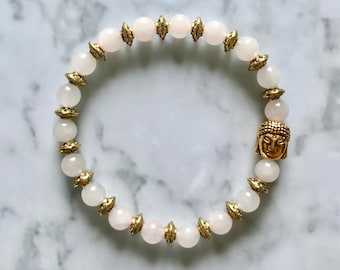 Natural Rose Quartz Gemstone and Tibetan Gold Beaded Buddha Bracelet