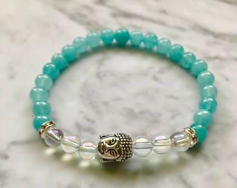 Natural Aquamarine and Aura Quartz Gemstone Beaded Buddha Bracelet- FREE SHIPPING
