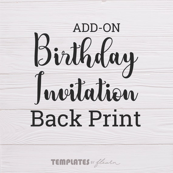 add on birthday invitation back print etsy