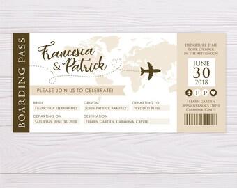 Boarding Pass Invitation, Boarding Pass Wedding Invitation, Destination Wedding Invitation, Printable Wedding Invitation, Printable Invite