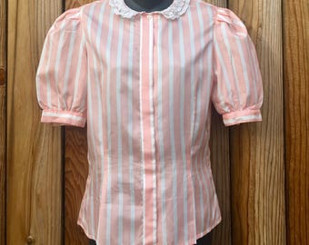 vintage HUK.A.POO women's pink stripe puffy sleeves Blouse size 7 lace peterpan collar