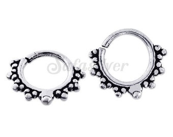 Filigree Style Endless Heart Silver Oxidized Nose Piercing Septum 1 pairs