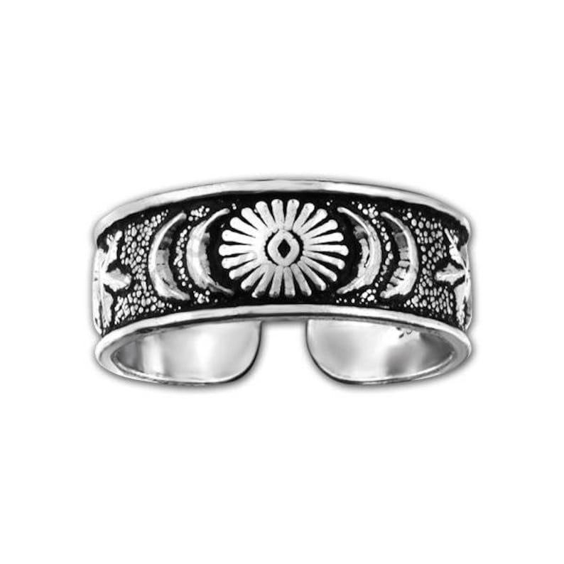 Silver Star Moon Sun Toe Ring,Silver Toe Ring,Body Jewelry,Minimalist Toe Ring