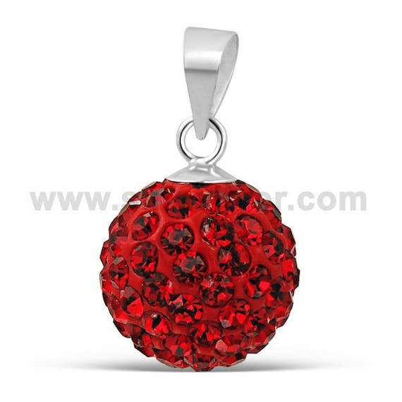 Light Siam Mix Crystal Ball Pendant 12 mm 925 Sterling Silver Ruby Ferido ball Pendant Size 10 mm