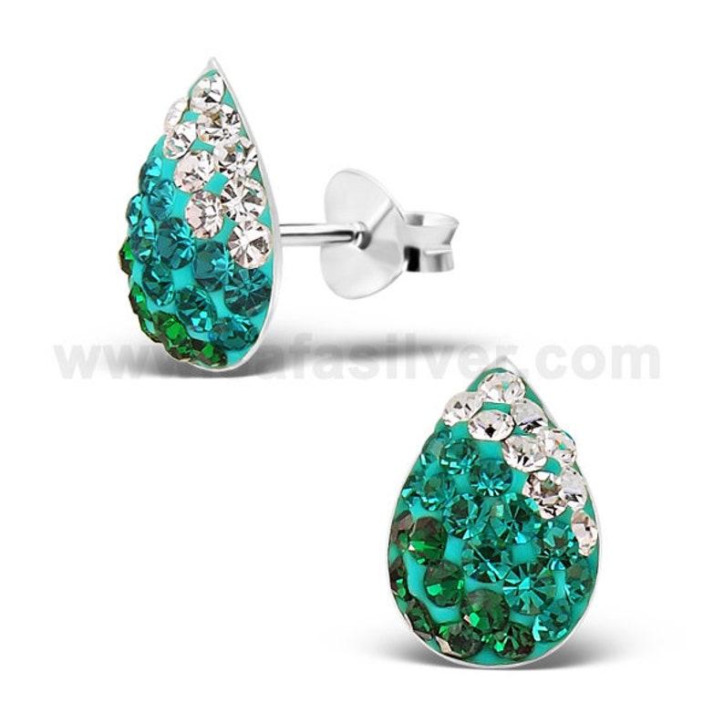 925 Sterling Silver Tiny Emerald Crystal pave tear drop earrings Glittering Crystal Stud earrings