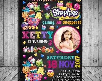 Shopkins Birthday Invitation Party With PhotoShopkins