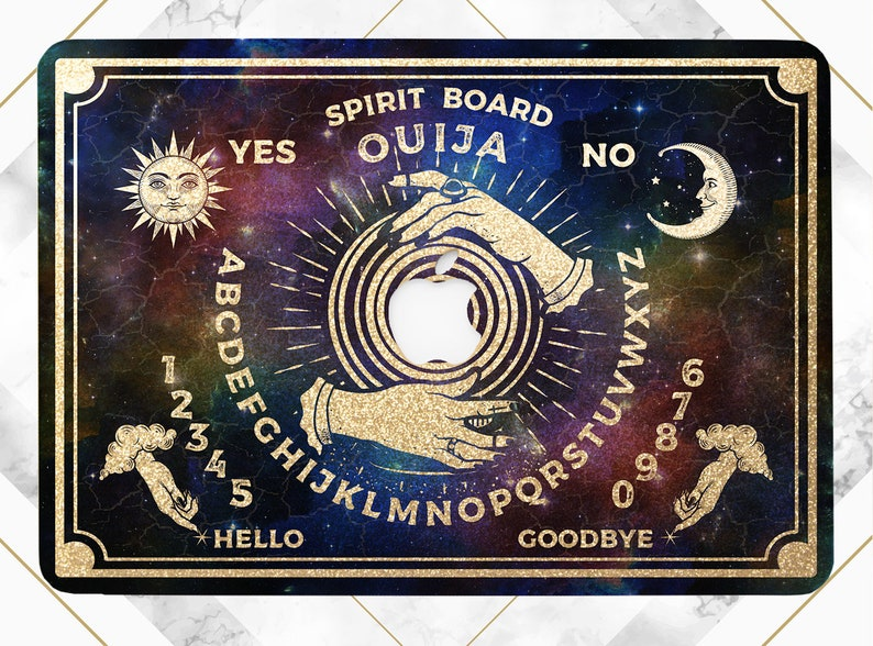 Ouija spirit board Macbook black magic Sun and moon art Macbook Pro 16 Space art Pro 13 2020 case Pro 15 2019 case Macbook hard case Glitter
