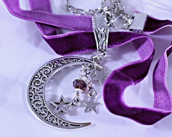 Necklace, 1cm Wide Purple Velvet Choker, Purple Choker, Purple Velvet Choker Necklace with Swarovski Crystal and Moon and Stars Pendant