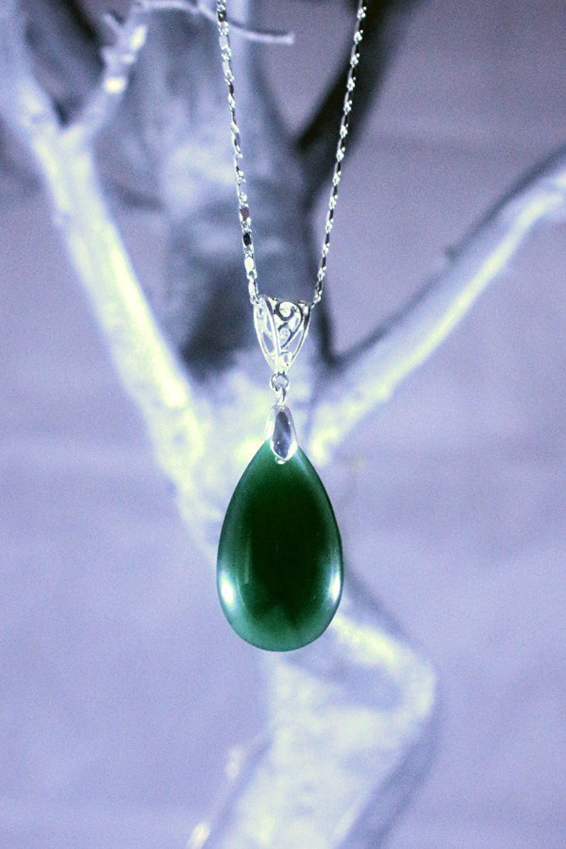 dafbd00f218a3f Necklace Green Jade Necklace Green Jade Teardrop Pendant   Etsy