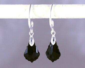 Earrings, Swarovski Earrings, Black Swarovski Earrings, Swarovski Jet Baroque Crystal Earrings on Sterling Silver Bails and Ear Wire Hooks