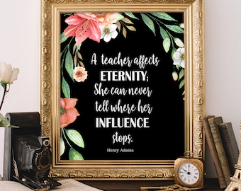 Teacher Gift She can never knows her influence stops Personalized Teacher Tote Bag Gift for Teacher A Teacher affects eternity