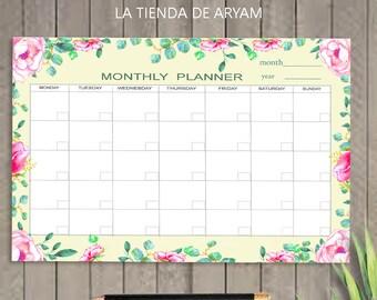 Desk Planner Student Monthly Undated Calendar PRINTABLE A4 Pad Deskpad