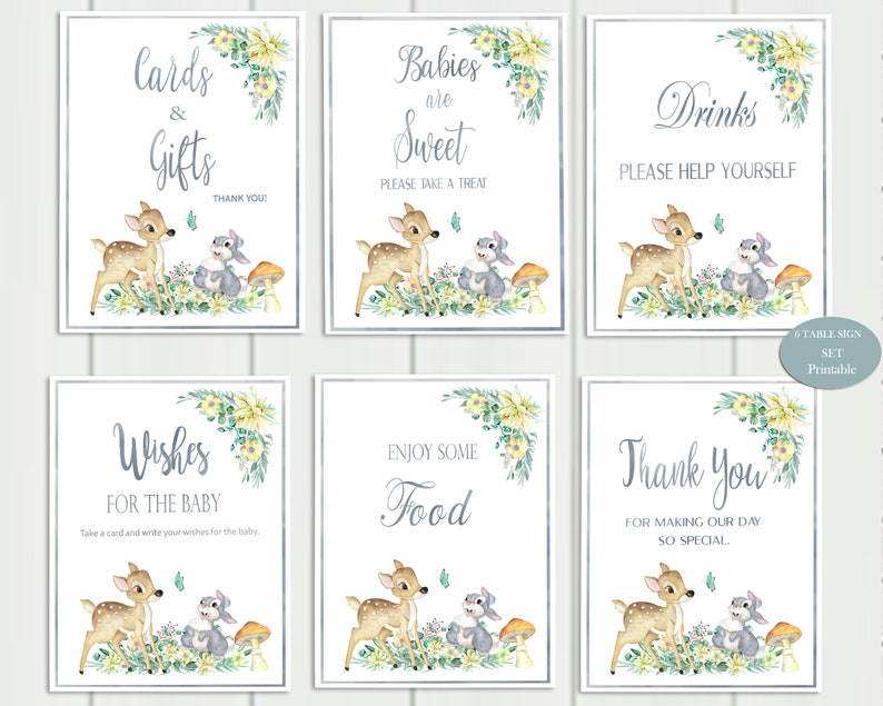 photograph regarding Baby Shower Signs Printable titled Bambi Kid Shower Indications Printable, Kid Shower Decorations Boy, Fixed of 6 Desk Symptoms. Foodstuff, Consume, Deal with, Thank by yourself Fast Obtain
