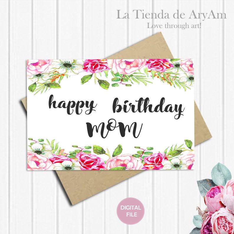 Happy Birthday Mom Card For 5x7 Greeting