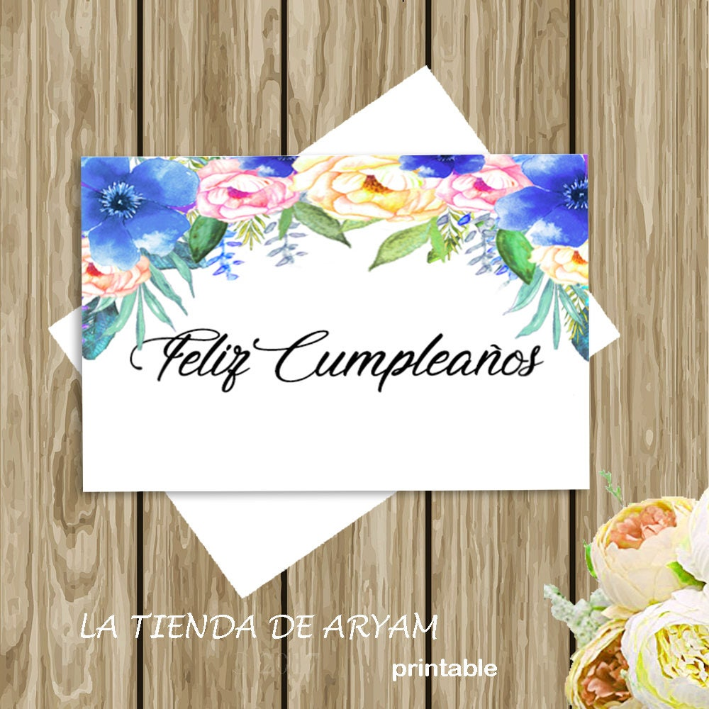 Feliz Cumpleanos Happy Birthday Card Watercolor Floral Etsy