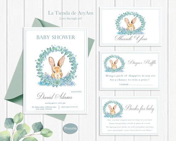 Invitación Baby Shower Baby Shower Conejo Set Invitación Baby Shower Baby Shower Niño Invitación Baby Shower Imprimible Shower Conejo