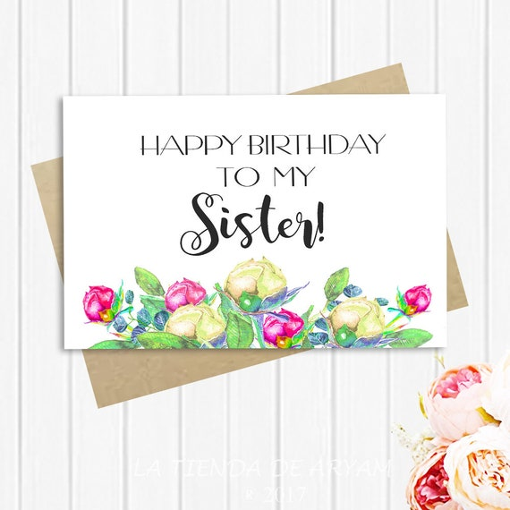 Happy birthday sister birthday card for sister 5x7 greeting etsy image 0 m4hsunfo