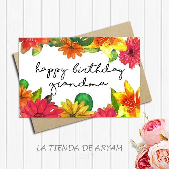 Happy Birthday Grandma Card For 5x7